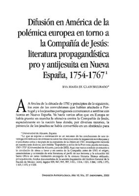 Difusión en América de la polémica europea en torno a la Compañía de Jesús: literatura propagandística pro y antijesuita en Nueva España, 1754-1767