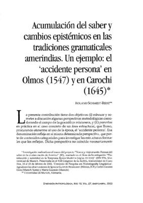 Acumulación del saber y cambios epistémicos en las tradiciones gramaticales amerindias. Un ejemplo: el 'accidente persona' en Olmos (1547) y en Carochi (1645)