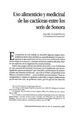 Uso alimenticio y medicinal de las cactáceas entre los seris de Sonora