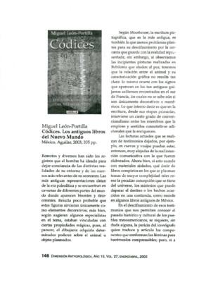 Miguel León-Portilla, Códices. Los antiguos libros del Nuevo Mundo, México, Aguilar, 2003, 335 pp.