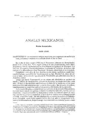 Anales mexicanos México-Azcapotzalco (1426-1589)