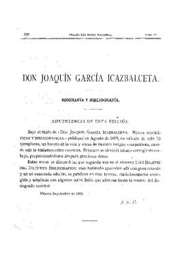 Don Joaquín García Icazbalceta, biografía y bibliografía.