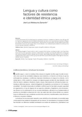 Lenguas y cultura como factores de resistencia e identidad étnica yaquis