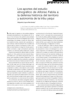 Los aportes del estudio etnográfico de Alfonso Fabila a la defensa histórica del territorio y autonomía de la tribu yaqui