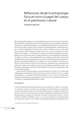 Reflexiones desde la antropología física en torno al papel del cuerpo en el patrimonio cultural