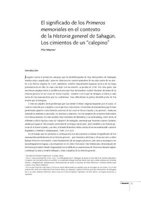 """El significado de los Primeros memoriales en el contexto de la Historia general de Sahagún. Los cimientos de un """"calepino"""""""