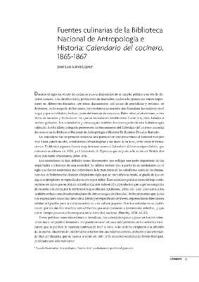 Fuentes culinarias de la Biblioteca Nacional de Antropología e Historia: Calendario del cocinero, 1865-1867