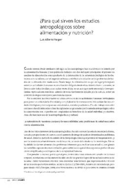 ¿Para qué sirven los estudios antropológicos sobre alimentación y nutrición?