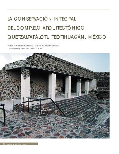 La conservación integral del complejo arquitectónico Quetzalpapálotl, Teotihuacán, México