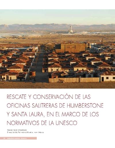 Rescate y conservación de las oficinas salitreras de Humberstone y Santa Laura, en el marco de los normativos de la UNESCO