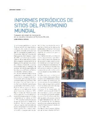 Informes periódicos de sitios del patrimonio mundial. Evaluación del estado de conservación  de las ciudades mexicanas del patrimonio mundial