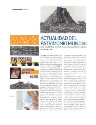 Actualidad del patrimonio mundial, arte conceptual y sitios de valor universal en México