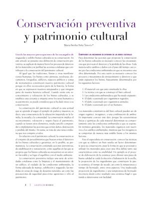 Conservación preventiva y patrimonio cultural