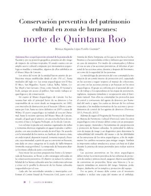 Conservación preventiva del patrimonio cultural en zona de huracanes: norte de Quintana Roo