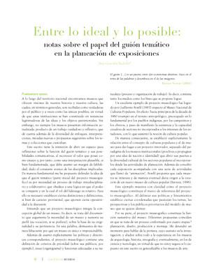 Entre lo ideal y lo posible: notas sobre el papel del guión temático en la planeación de exposiciones