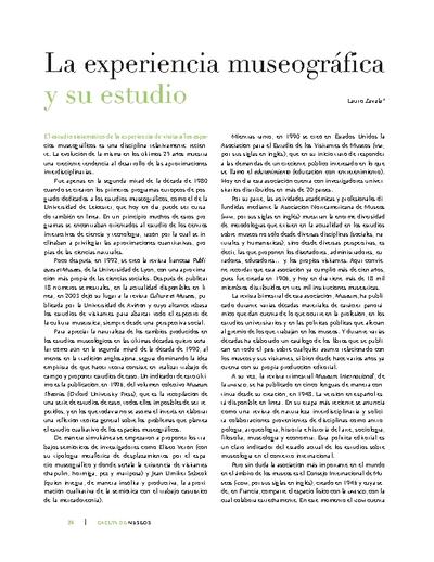 La experiencia museográfica y su estudio