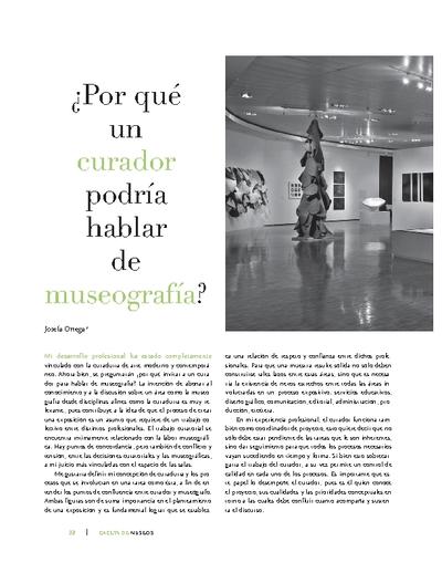 ¿Por qué un curador podría hablar de museografía?