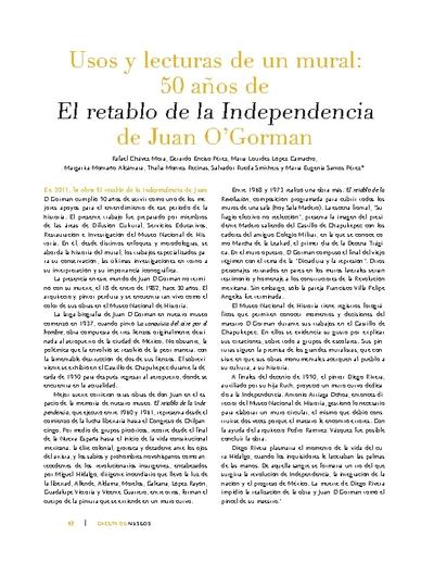 Usos y lecturas de un mural: 50 años de El retablo de la Independencia de Juan O'Gorman