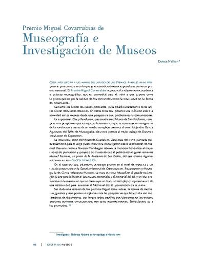 Premio Miguel Covarrubias de Museografía e Investigación de Museos