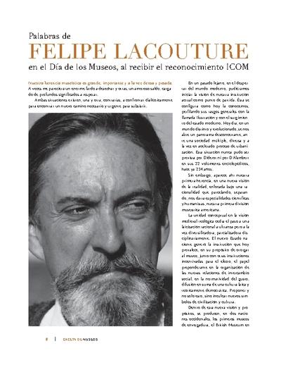 Palabras de Felipe Lacouture en el Día de los Museos, al recibir el reconocimiento ICOM
