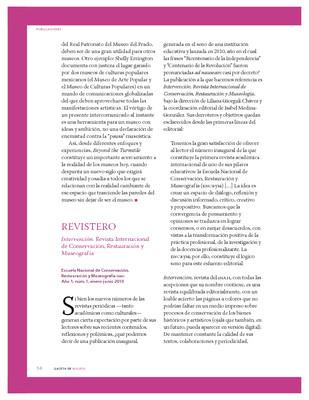 Intervención. Revista Internacional de Conservación, Restauración y Museografía