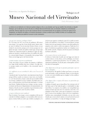 Entrevista con Agustín Rodríguez Trabajar en el Museo Nacional del Virreinato