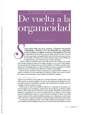 De vuelta a la organicidad. Resultados de un estudio de público en Tlatelolco