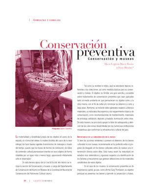 Conservación preventiva Conservación y museos