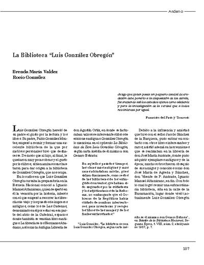 "La Biblioteca ""Luis González Obregón"""