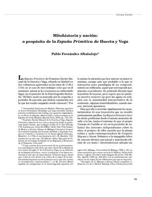 Mitohistoria y nación: a propósito de la España Primitiva de Huerta y Vega