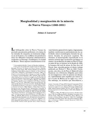 Marginalidad y marginación de la minería de Nueva Vizcaya (1563-1631)