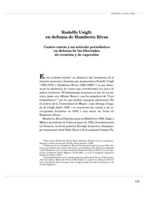 Rodolfo Usigli: en defensa de Humberto Rivas