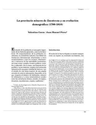 La provincia minera de Zacatecas y su evolución demográfica (1700-1810)