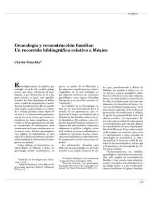 Genealogía y reconstrucción familiar. Un recorrido bibliográfico relativo a México