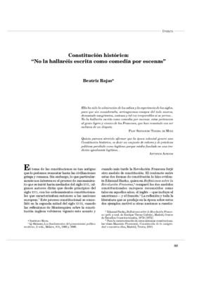 """Constitución histórica: """"No la hallaréis escrita como comedia por escenas"""""""