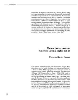 Memorias en proceso América Latina, siglos XVI-XX
