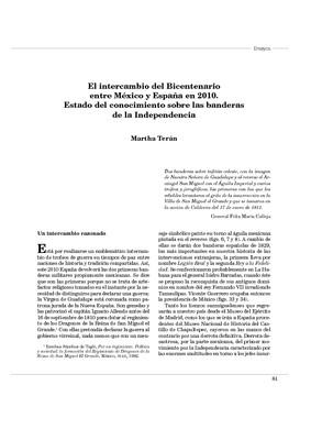 El intercambio del Bicentenario entre México y España en 2010. Estado del conocimiento sobre las banderas de la Independencia