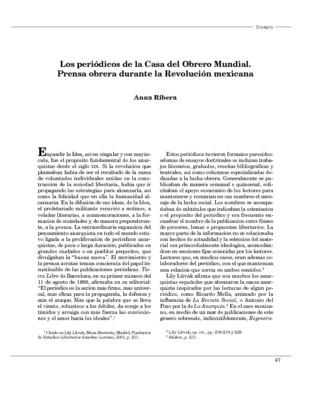 Los periódicos de la Casa del Obrero Mundial. Prensa obrera durante la Revolución mexicana.