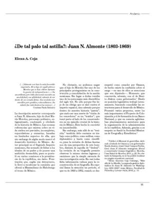 ¿De tal palo tal astilla?: Juan N. Almonte (1803-1869)