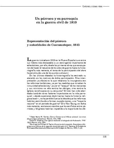Un párroco y su parroquia en la guerra civil de 1810