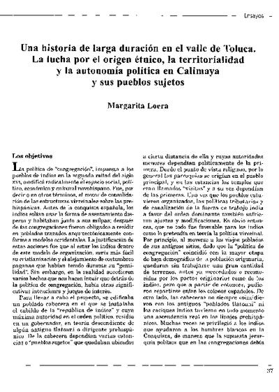 Una historia de larga duración en el valle de Toluca. La lucha por el origen étnico, la territorialidad y la autonomía política en Calimaya y sus pueblos sujetos