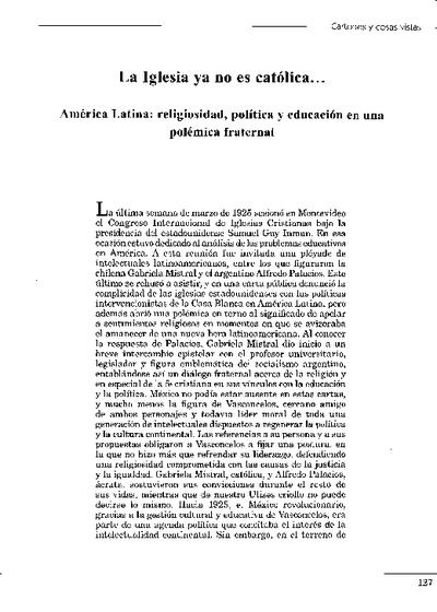 La Iglesia ya no es católica... América Latina: religiosidad, política y educación en una polémica fraternal