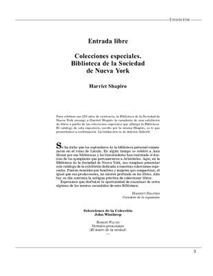 Colecciones especiales. Biblioteca de la Sociedad de Nueva York