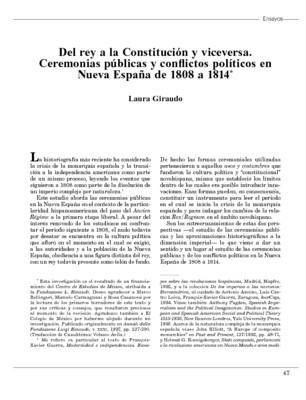 Del rey a la Constitución y viceversa. Ceremonias públicas y conflictos políticos en Nueva España de 1808 a 1814