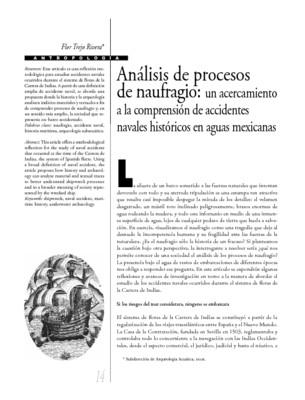 Análisis de procesos de naufragio: un acercamiento a la comprensión de accidentes navales históricos en aguas mexicanas.