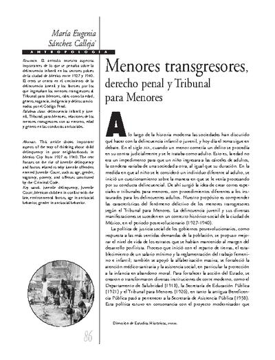Menores transgresores, Derecho Penal y Tribunal para Menores