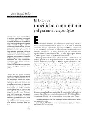 El Factor de movilidad comunitaria y el patrimonio arqueológico