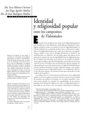Identidad y religiosidad popular entre los campesinos de Tlalmanalco