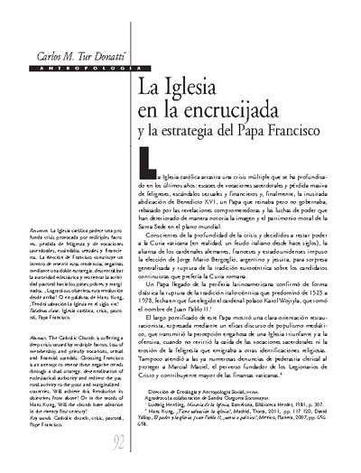 La Iglesia en la encrucijada y la estrategia del Papa Francisco