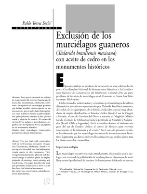 Exclusión de los murciélagos guaneros (Tadarida brasiliensis mexicana) con aceite de cedro en los monumentos históricos